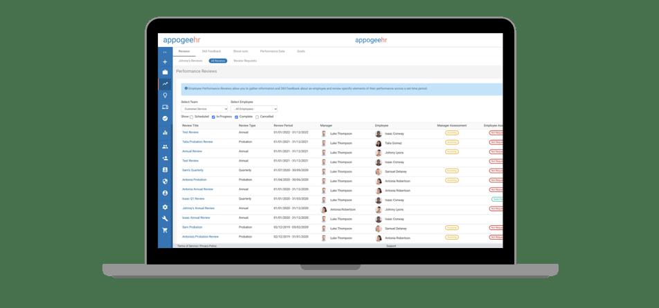 Employee manager self assessment screenshot