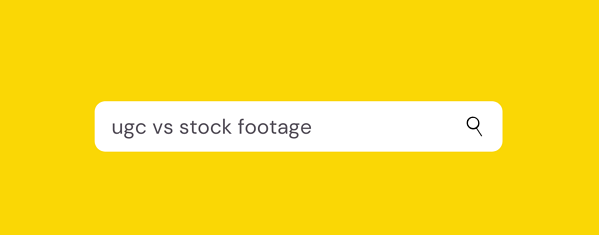 ugc vs stock text on a yellow background