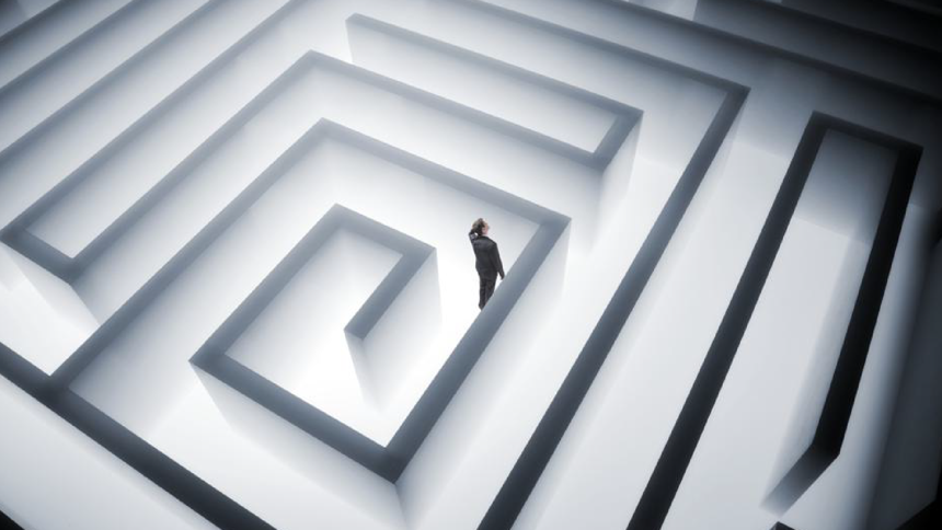 Person walking through a maze