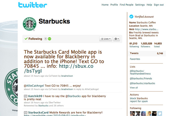 Starbucks Twitter account
