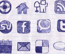 social media icon doodles
