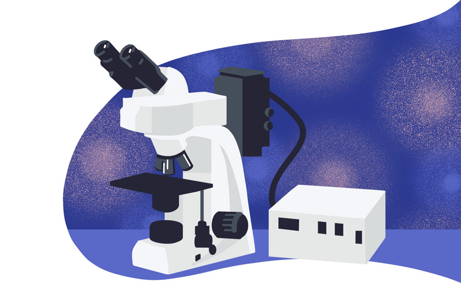 Lab informatics and using a digital lab assistant while working with a microscoop