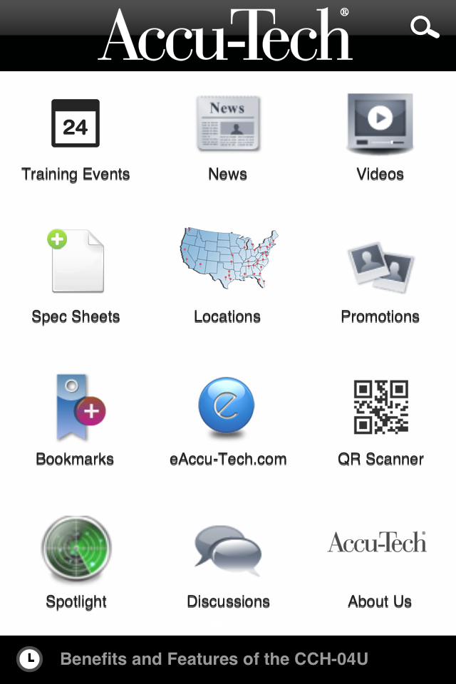 accu-tech app new menu