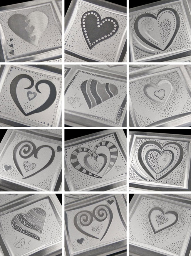 etched aluminum hearts