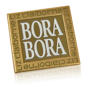 gold and white Bora Bora nameplate
