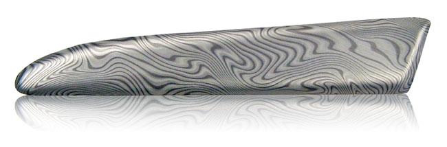 etched silver damascus steel aluminum finish