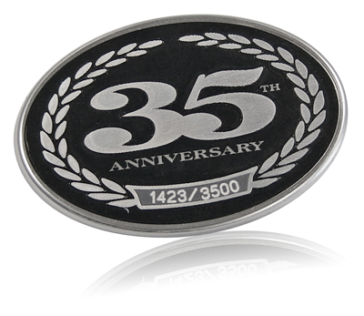 Harley Davidson serialized 35th anniversary nameplate