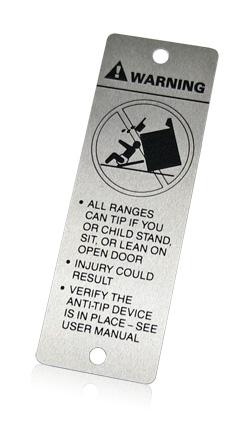 aluminum warning tag
