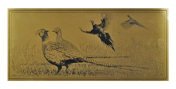 pheasants etched brass plaque