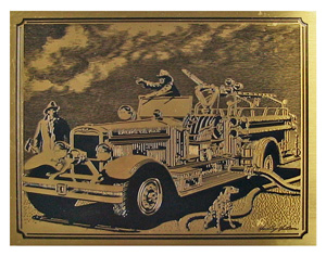 firetruck etched brass plaque