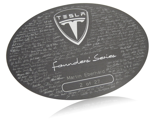 Tesla Motors Founder's Series Nameplate