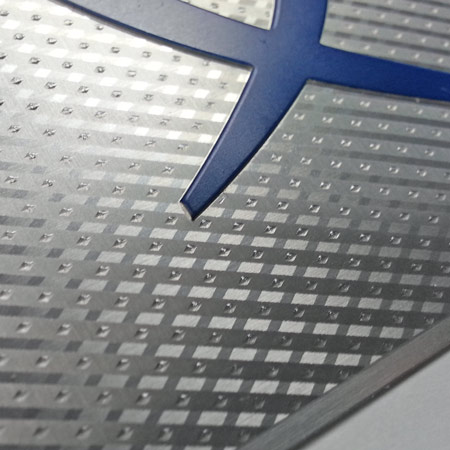 dimensional aluminum pattern on metal nameplate