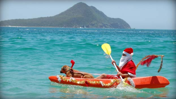 Santa takes to a Kayak in New Zealand