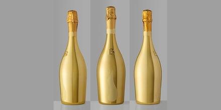 Inbreuk op spiegelende gouden flessen