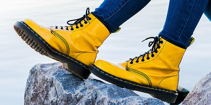 The typical yellow stitching of Dr. Martens