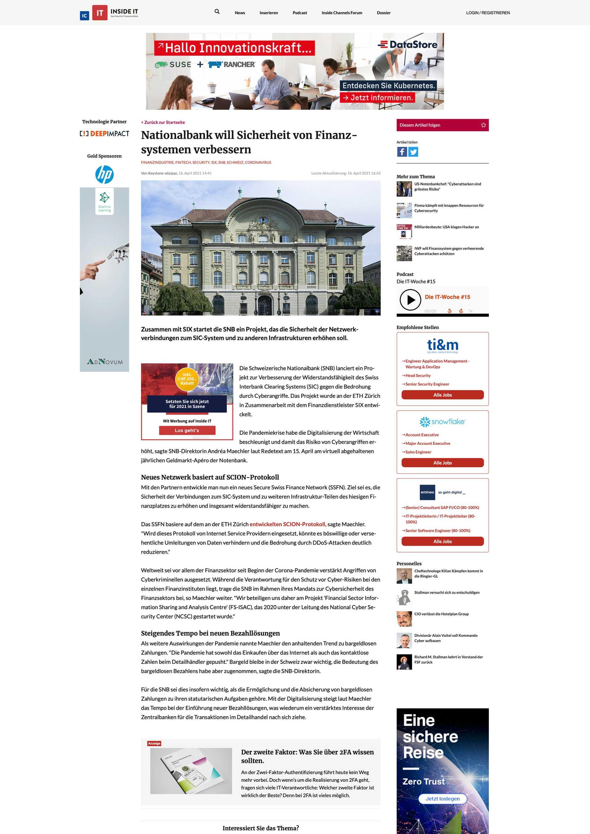Nationalbank will Sicherheit von Finanzsystemen verbessern