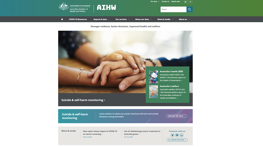 Australian Institute of Health and Welfare's national suicide and self-harm monitoring website homepage