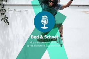 """Texte : Bed & School """" Il a eu un avant et un après signature électronique """" Image : jeune homme qui saute en l'air"""