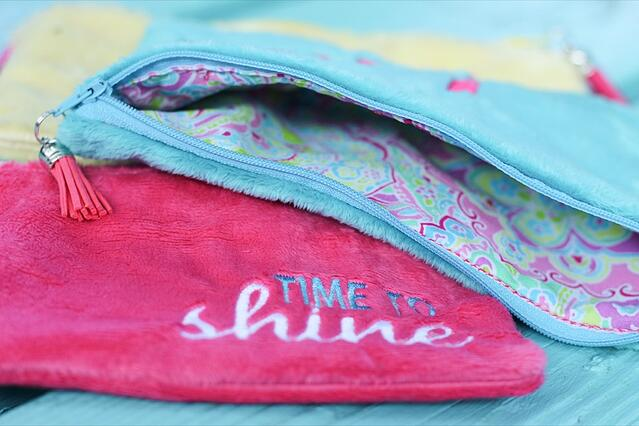 How to Sew and Embroider a Lined Minky Fabric Zipper Bag
