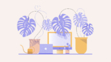 Illustration of a laptop, monitor, and three potted plants