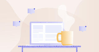 Illustration of an open laptop with a steaming mug next to it.