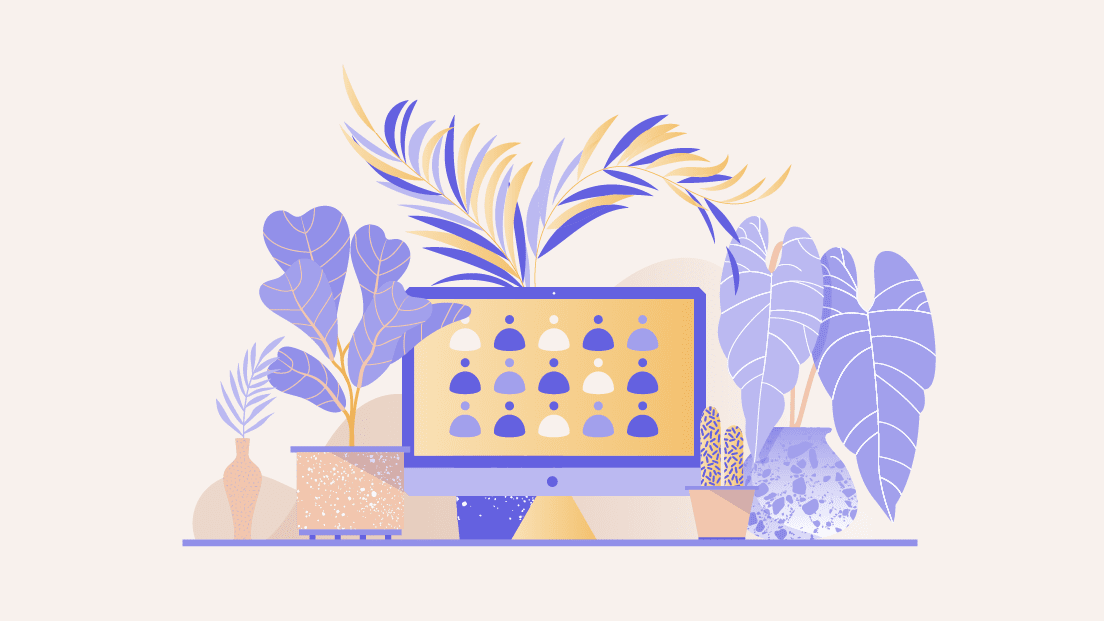 An illustration of a computer screen surrounded by plants