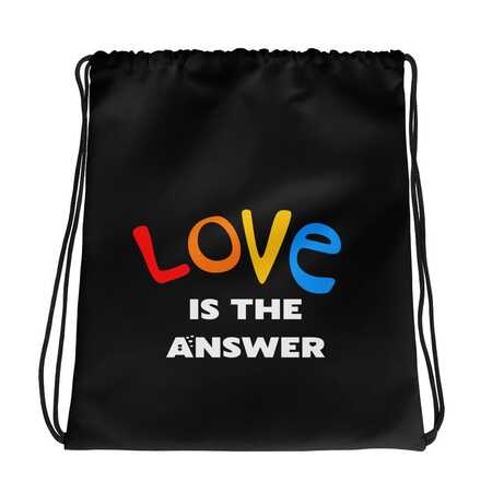 love is the answer lightweight drawstring bag gay bi and trans friendly