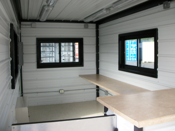 mac-4 office, modular office with turnstiles, turnstiles in a guard office