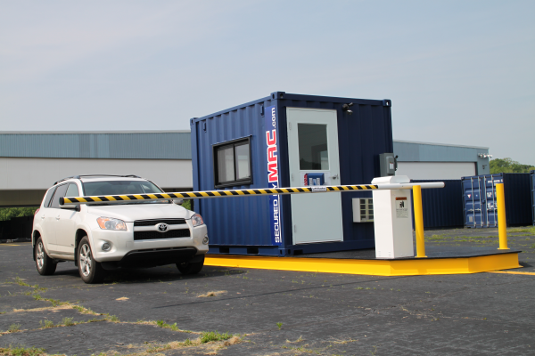 guard booth with barrier arms, vehicle access control, portable vehicle access control, modular vehicle access control