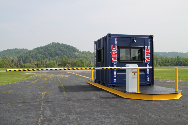 guard house with vehicle barrier arms, vehicle access control, modular vehicle access control, portable vehicle access control