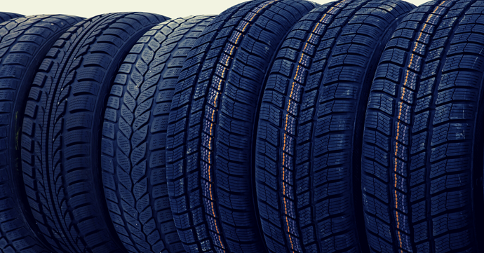 Row of car tyres