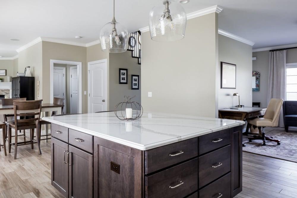 Quartz kitchen island in this kitchen remodel