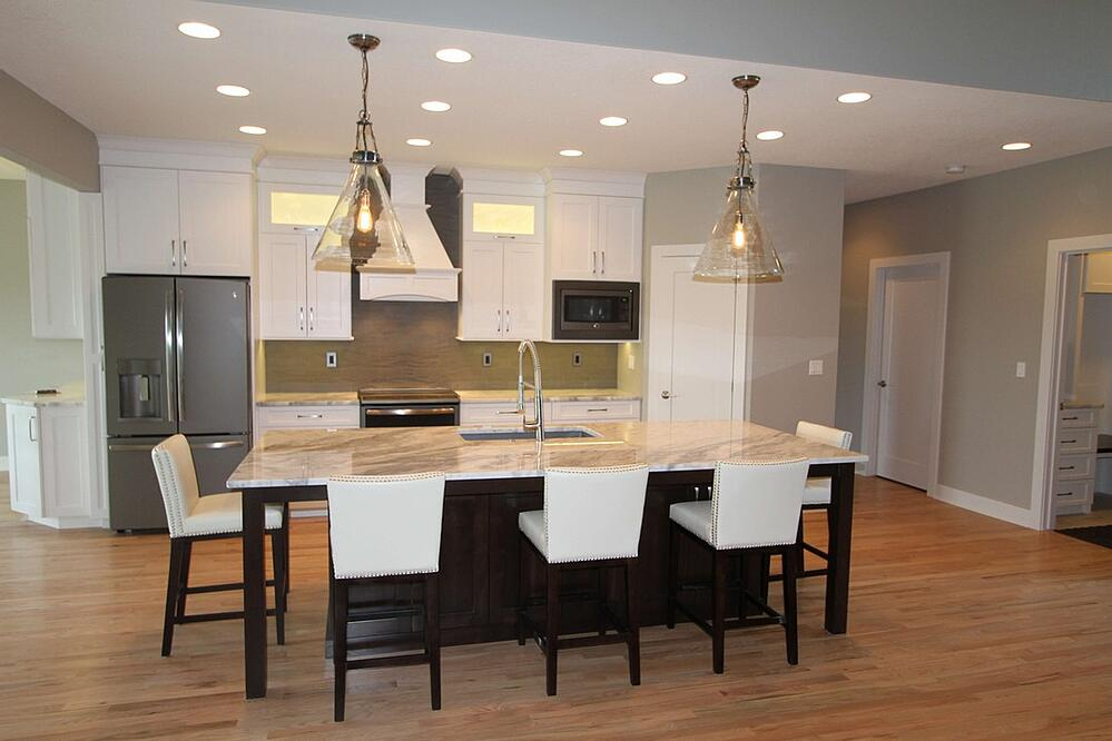 Great light fixtures with custom cabinets