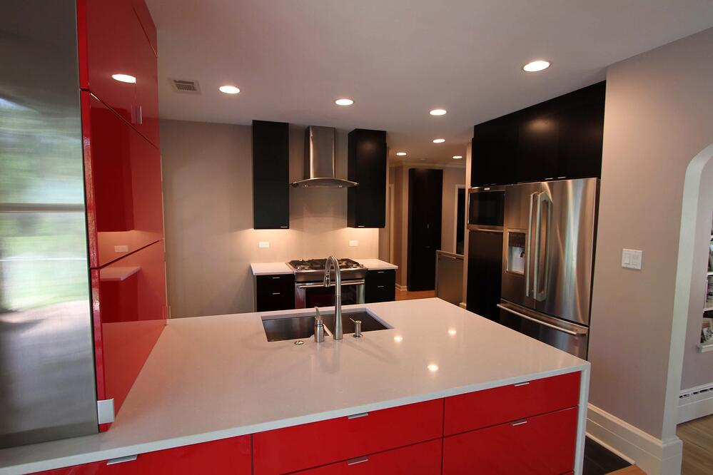 Quartz counter tops in this kitchen remodel