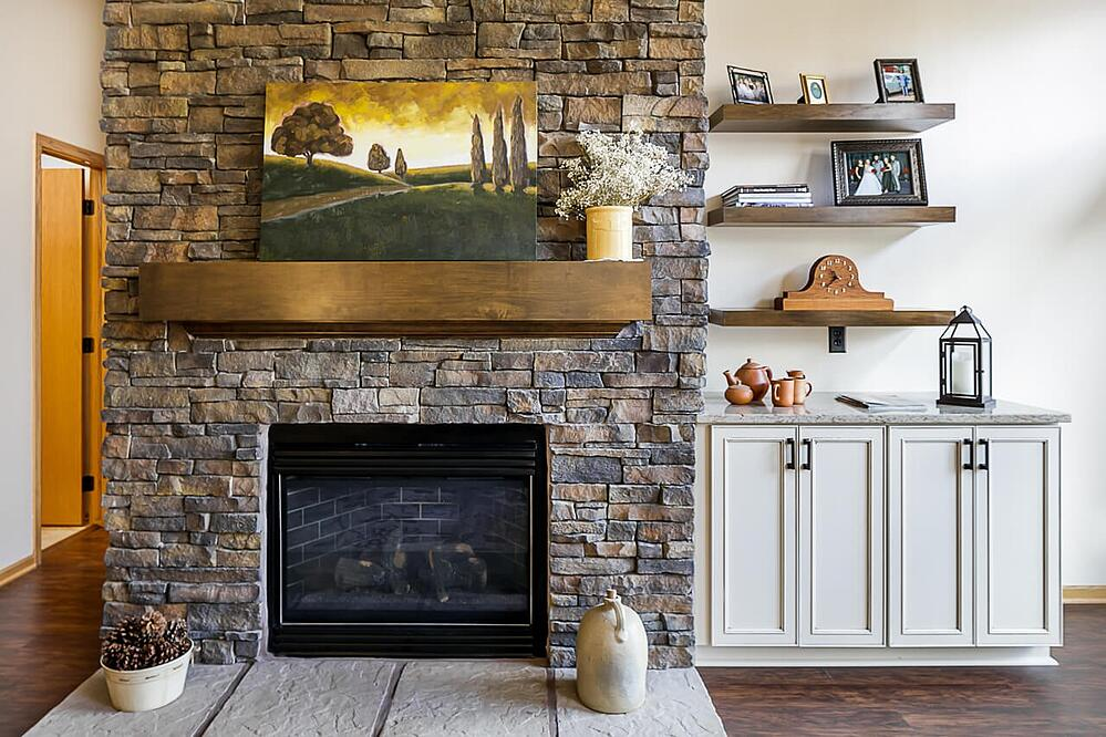 Great fireplace with custom mantle