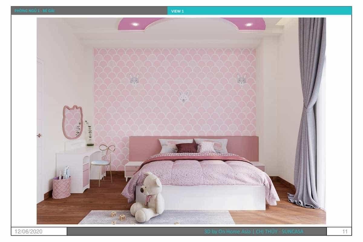Nội thất phòng ngủ bé gai với sắc hồng ngọt ngào
