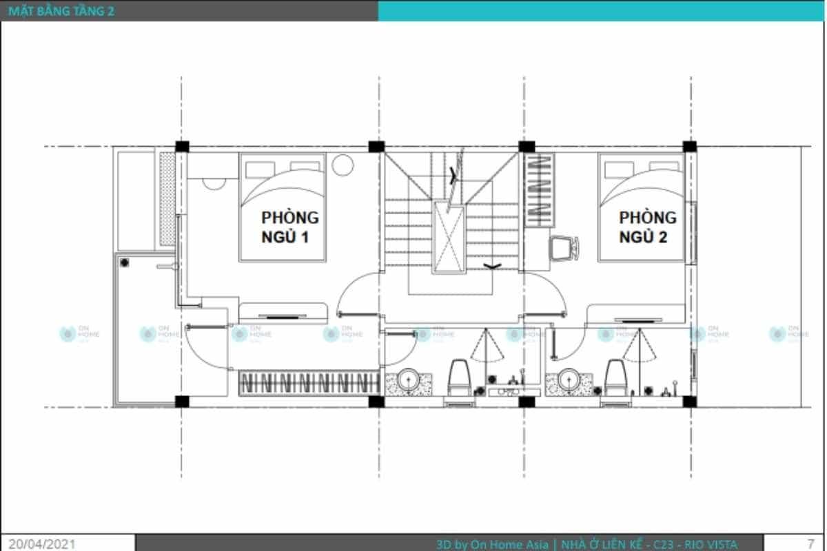 Bản vẽ thiết kế nội thất nhà phố tầng 2