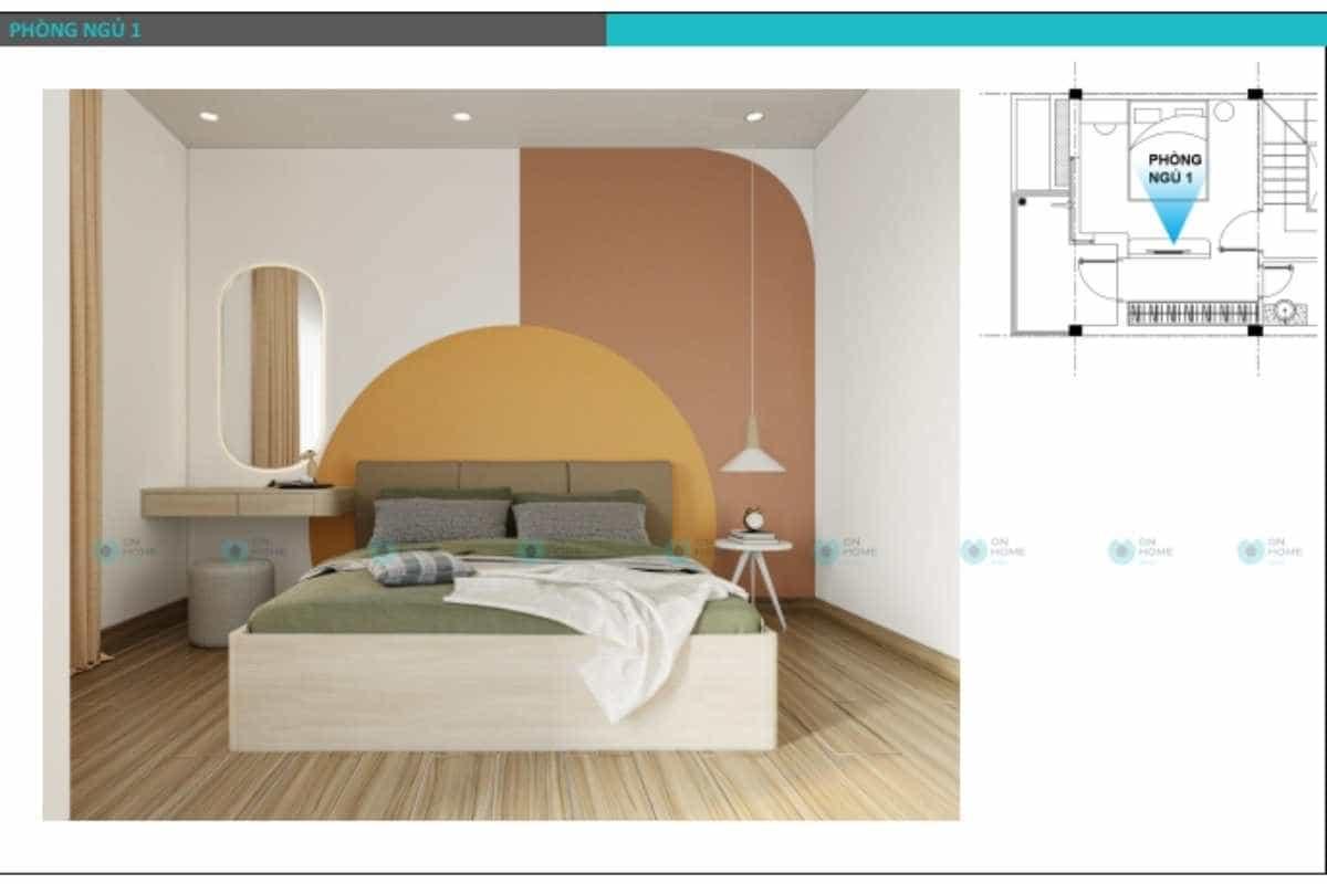 Phối cảnh thiết kế nội thất nhà phố dành cho phòng ngủ master