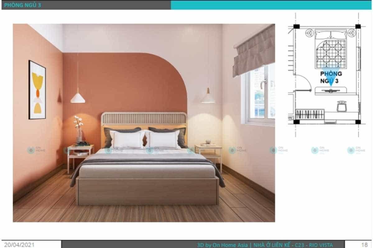 Phối cảnh thiết kế nội thất nhà phố 3 tầng dành cho phòng ngủ bé gái