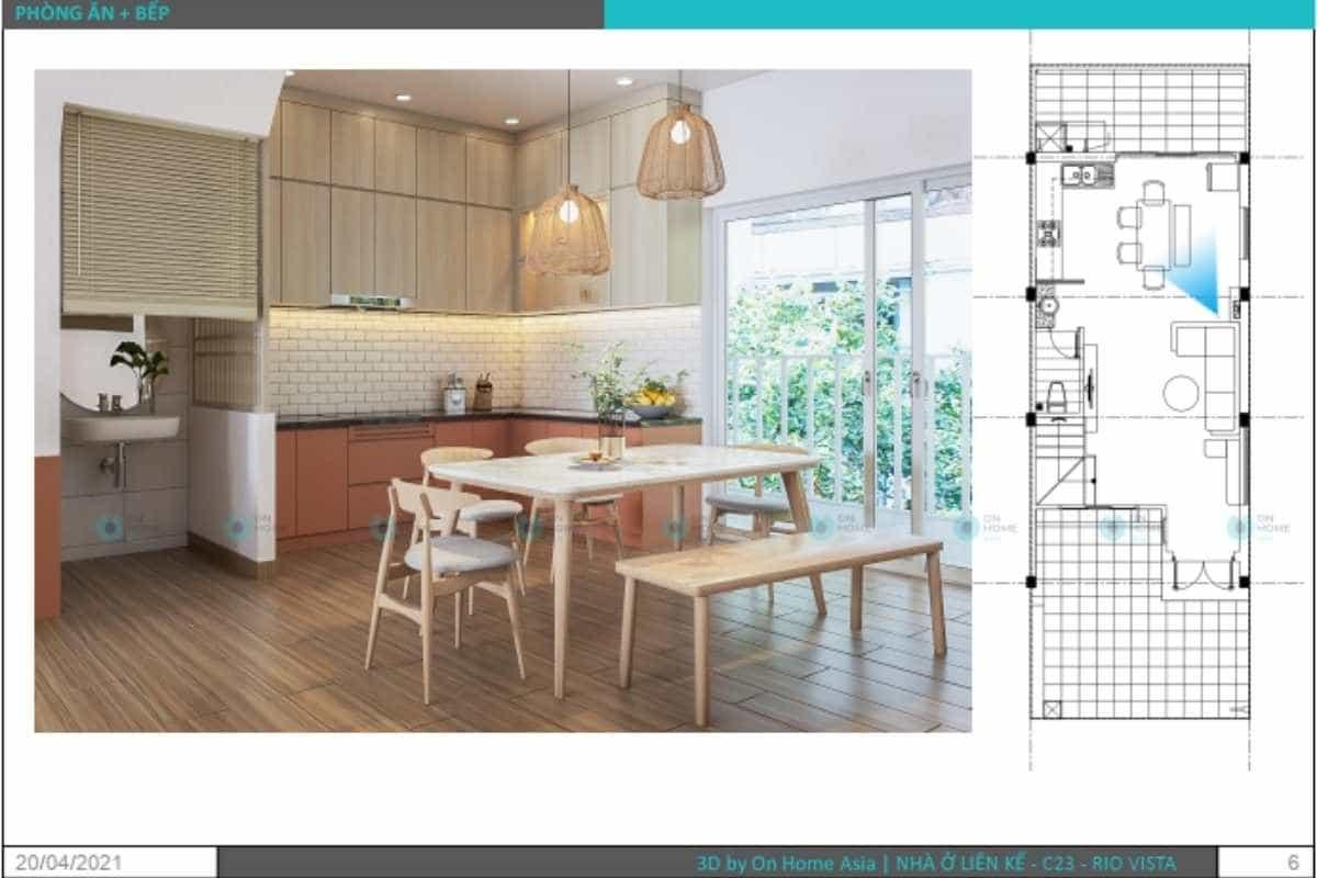 Phối cảnh bản vẽ thiết kế nội thất nhà phố dành cho phòng bếp