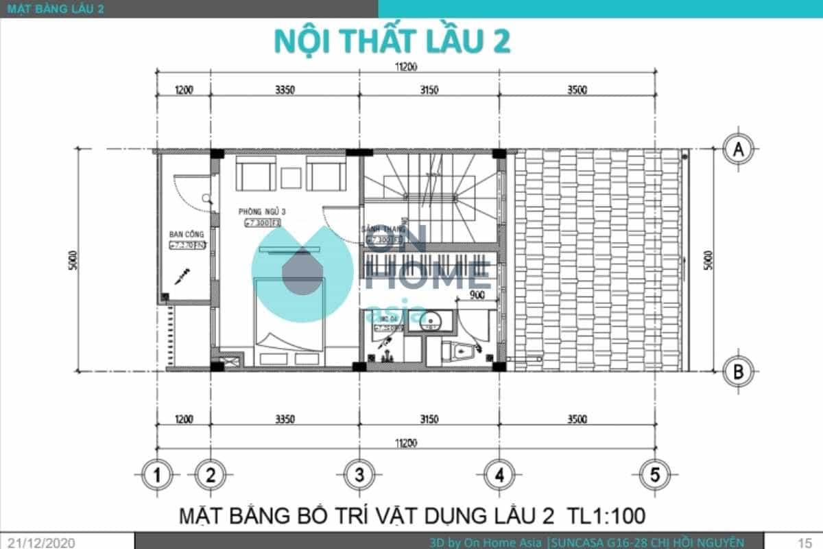 Bản vẽ thiết kế nội thất nhà phố lầu 2
