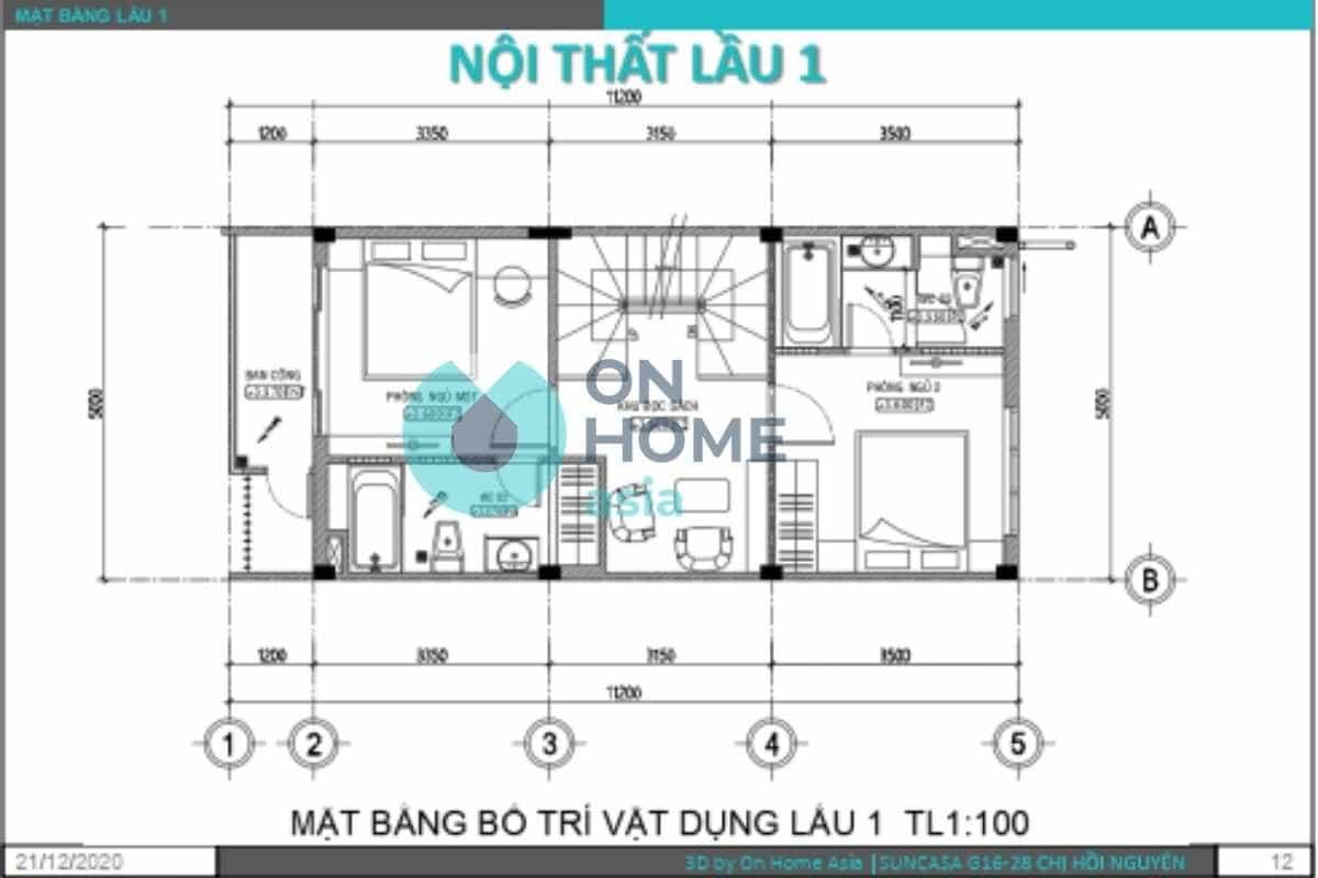 Bản vẽ thiết kế nội thất nhà phố lầu 1
