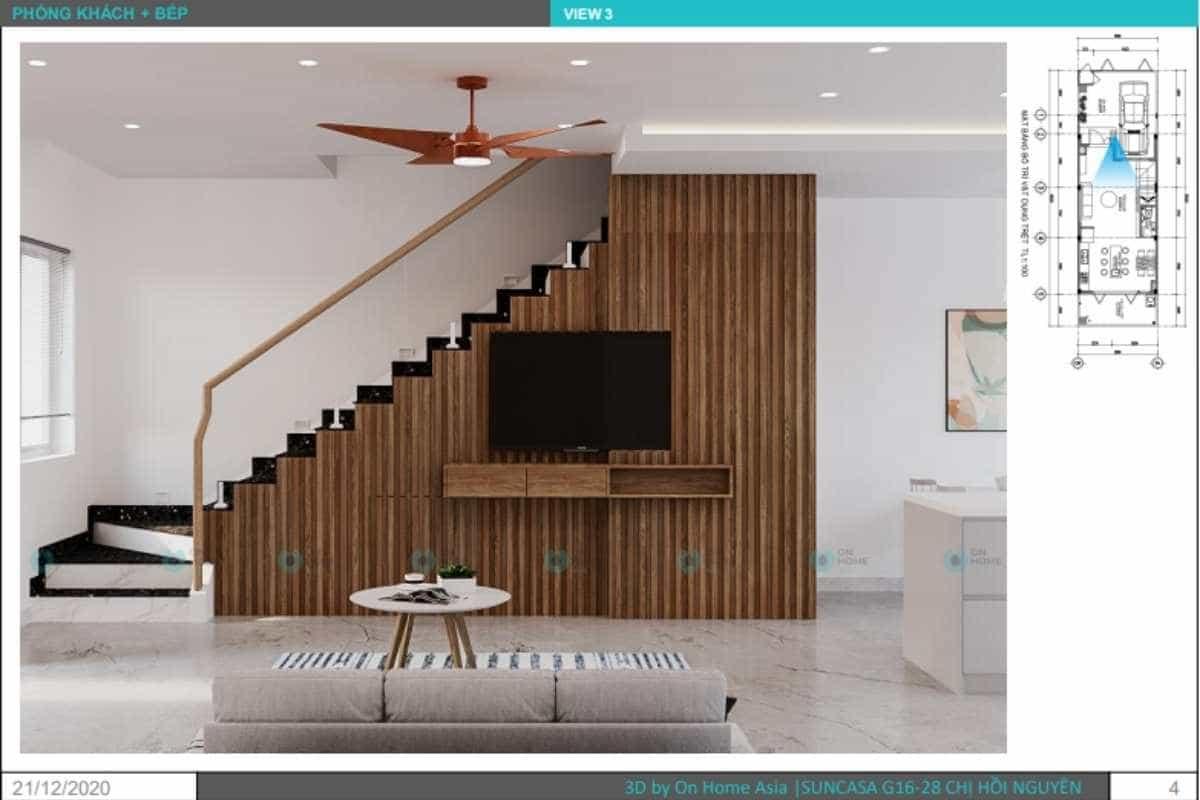 Phối cảnh thiết kế nội thất nhà phố liền kề dành cho phòng khách