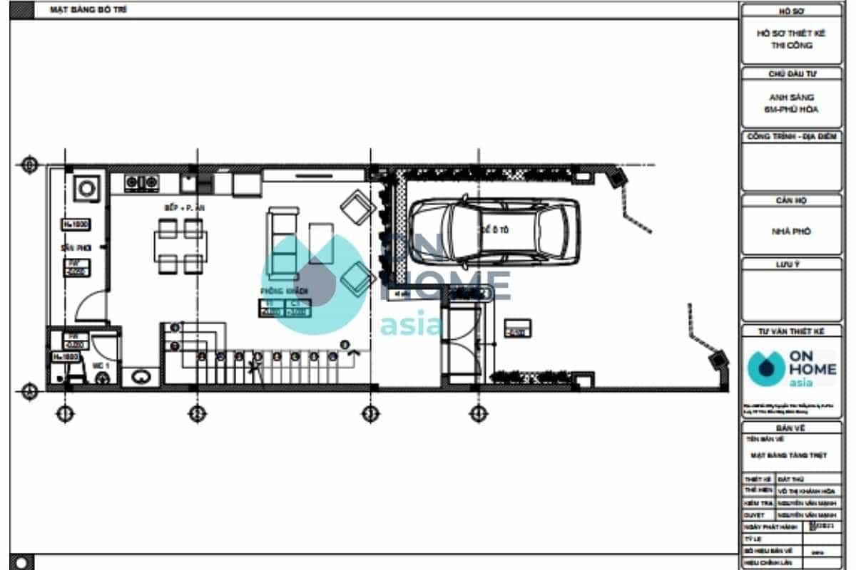 Bản vẽ thiết kế nội thất nhà phố 1 trệt 1 lầu đẹp