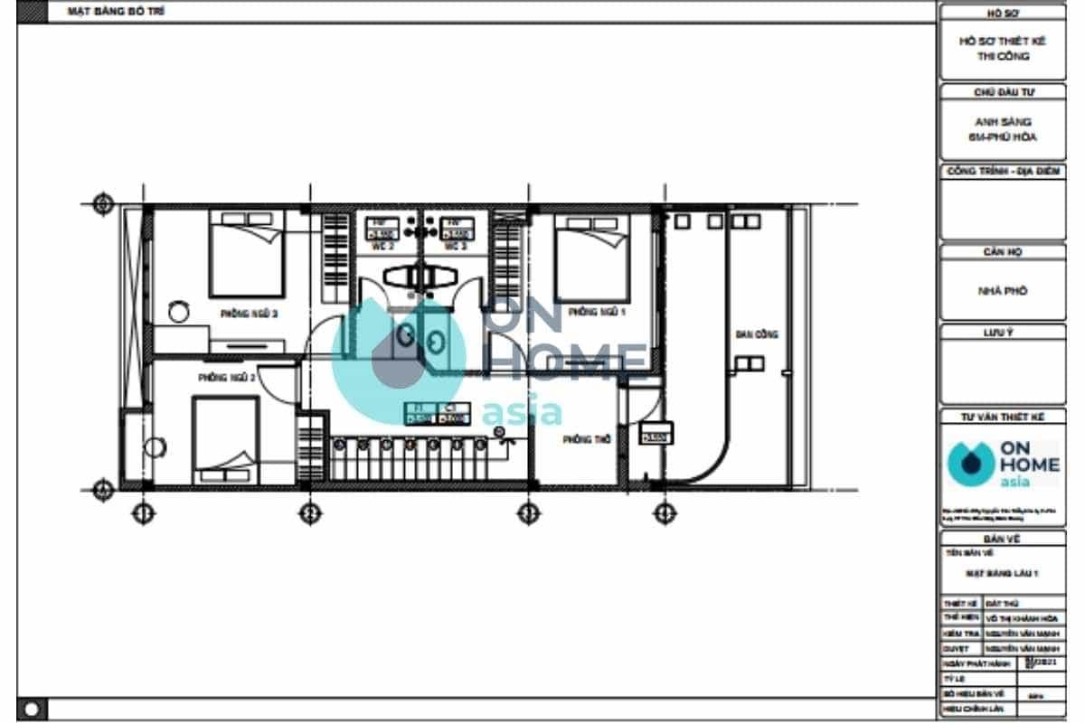 Bản vẽ thiết kế nội thất nhà phố 1 trệt 1 lầu