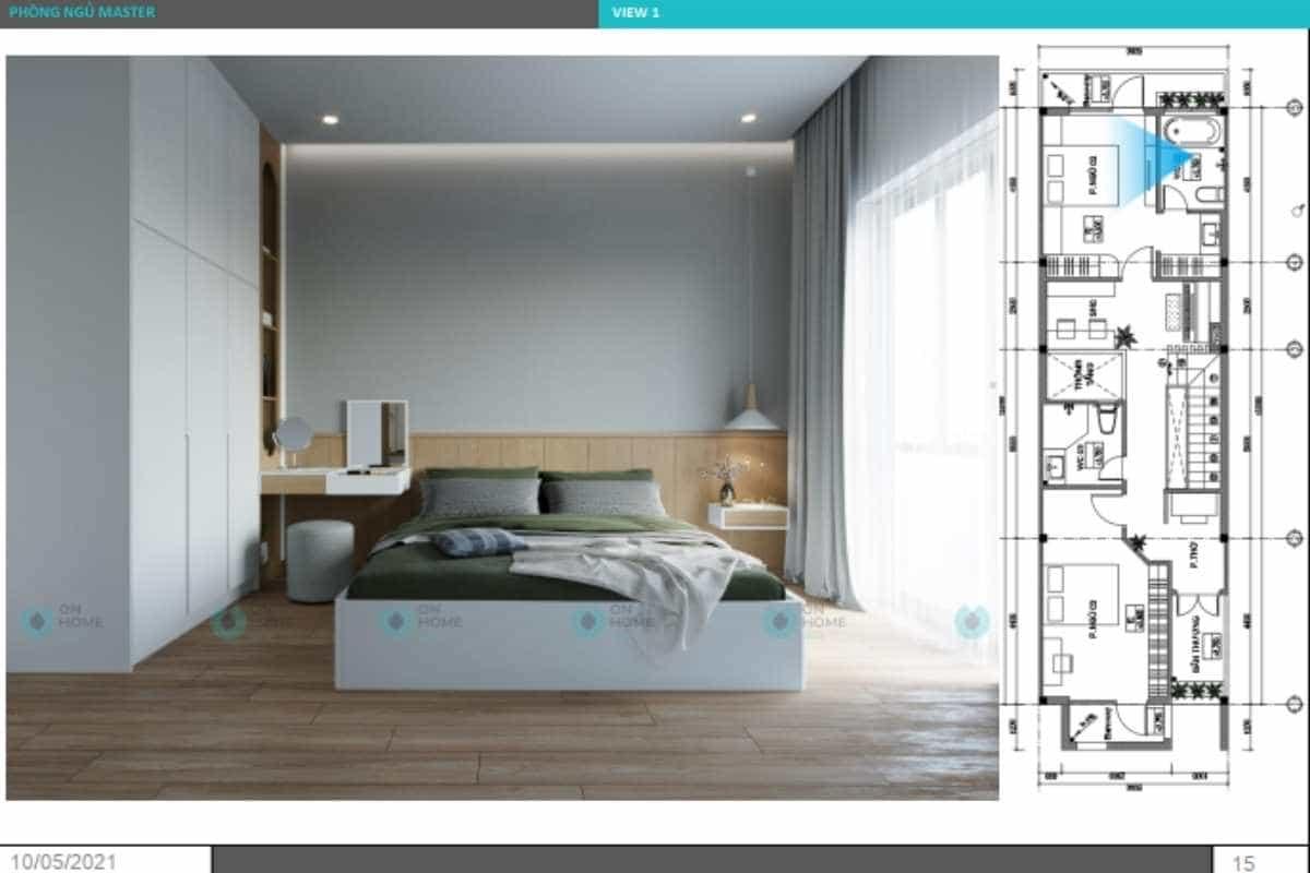 Phối cảnh nội thất phòng ngủ master nhà phố nhỏ đẹp