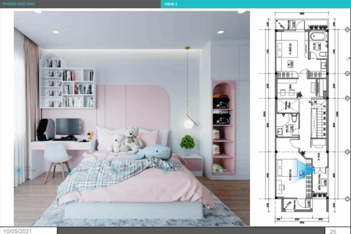 Phối cảnh nội thất phòng ngủ bé gái dễ thương