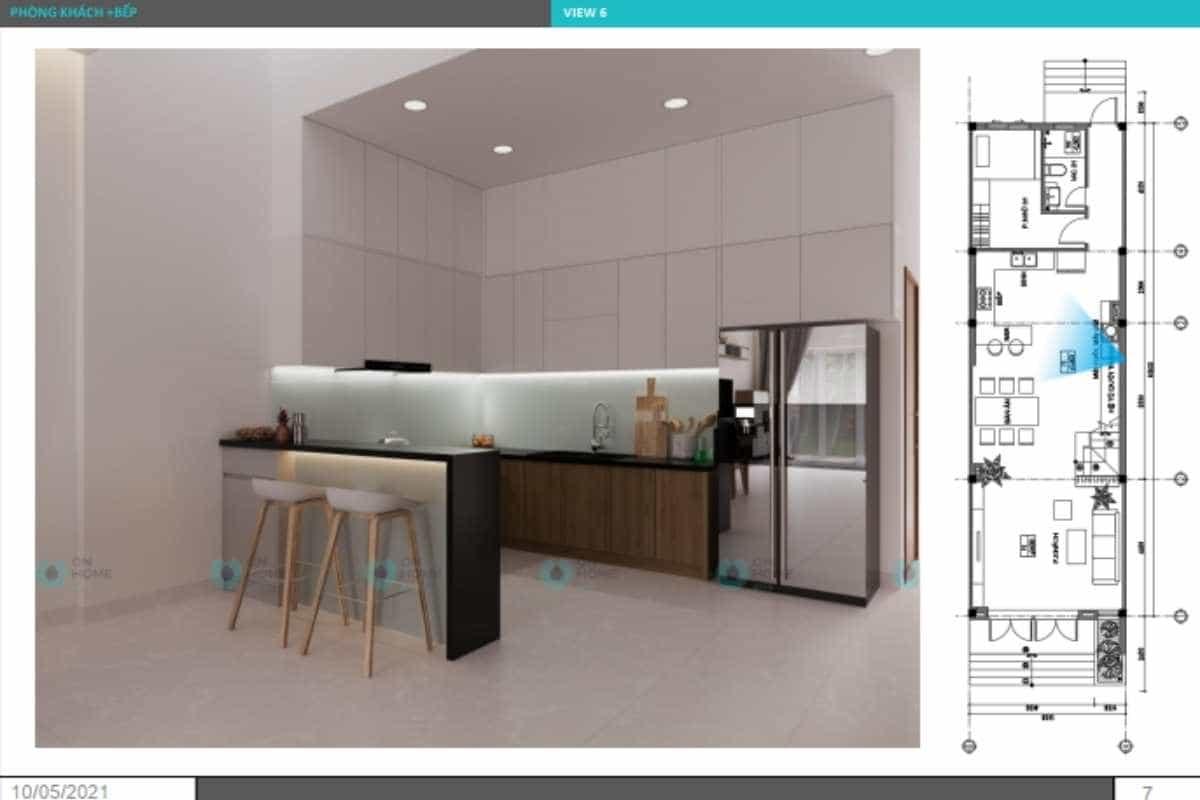 Phối cảnh nội thất phòng bếp nhà phố