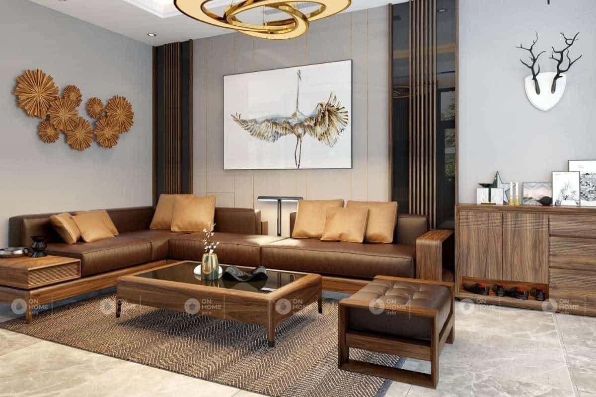 Cách kê bàn ghế gỗ phòng khách chung cư