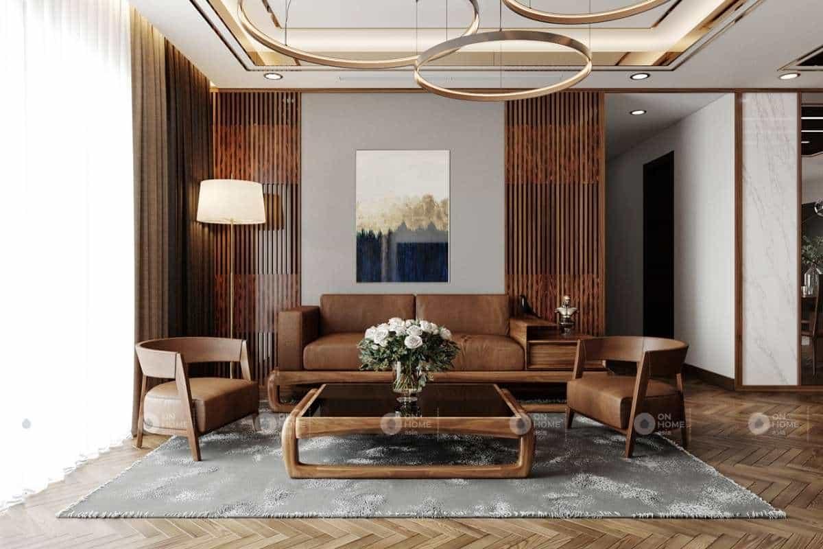 Trang trí bàn ghế gỗ phòng khách đẹp và sang trọng